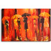 "Hand Painted ""Rainy Night"" Oil Canvas Art"