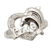 Sterling Essentials Sterling Silver Clear Cubic Zirconia Dolphin Love Ring