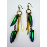 Rachel Paula Beetle Wing Earrings