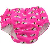 Waterproof Swim Diaper in Red Rainbow Cloud Print
