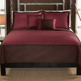 Barclay King Quilt with Two Shams in Chocolate / Red