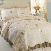 Trousseau Standard Sham Quilt in Ivory and Quilt
