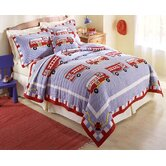 Cotton Fire Truck Quilt with Pillow Sham, Bed Skirt, and Pillow
