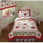 Lady Bug Yard Quilt with Pillow Sham, Sheet Set, Pillow, and Valance
