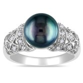 Sterling Silver Diamond and Black Freshwater Pearl Fashion Ring