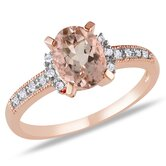 Pink Silver Oval Cut Morganite Multi Stone Ring