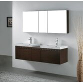 "Venasca 60"" Double Bathroom Vanity Set in Walnut"