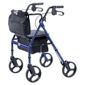Elite Rolling Walker with Seat Backrest and Saddle Bag in Blue