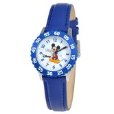 Kid's Mickey Mouse Time Teacher Watch in Blue Leather with Blue Bezel