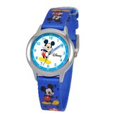 Kid's Mickey Mouse Time Teacher Watch in Printed Blue Nylon