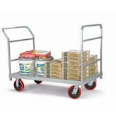 Heavy Duty Platform Truck, Quiet Poly Casters, 2 Fixed and 2 Swivel, 1 Push Handle and 1 End Handle