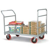 Heavy Duty Platform Truck, Quiet Poly Casters, All Swivel, 1 Push Handle and 1 End Handle
