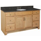 "Richland 60"" x 21"" Double Door 4 Drawers Vanity Cabinet with Double Bowl Top"