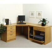 Home Office Corner Desk / Workstation with Pedestal and Printer / CPU Storage
