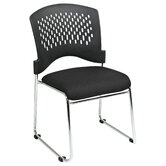Plastic Back SpringFlex Fabric Seat Visitors Office Chair with Chrome Frame Sled Base, Gangable and Stackable, 4 Pack
