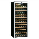 65 Bottle Wine Cooler in Black with Platinum Door Trim