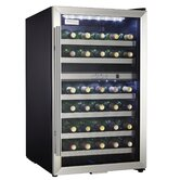 35 Bottle Wine Cooler in Black with Stainless Steel Door Trim