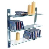 Three Tier Glass Wall CD / DVD / Book / Media Storage Shelves