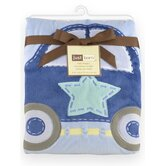 Just Born Jumbo 3D Valboa Applique Blue Car Blanket