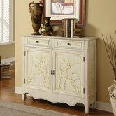Hand Painted Two Door Console in Distressed White