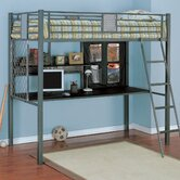 Monster Bedroom Twin Study Bunk Bed with Desk and Built-In Ladder