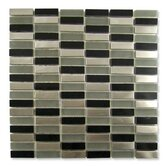 "Impact 5/8"" x 1-7/8"" Glass, Tile, and Metal Mosaic in Nocturne Metal"