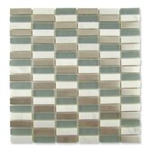 "Impact 5/8"" x 1-7/8"" Glass, Tile, and Metal Mosaic in Storm Metal"