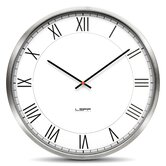 One wall Clock with White Roman Dial in Stainless Steel
