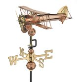 Biplane Weathervane with Garden Pole