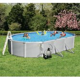 "Samoan Oval 52"" Deep 8"" Top Rail Metal Wall Swimming Pool Package"