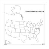 Magnetic Dry-Erase Teaching Aides Mat - United States Map
