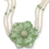 Sterling Silver Jade/Peridot/Pearl Necklace