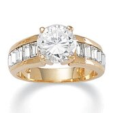 Gold Plated Cubic Zirconia and Crystal Ring