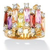 Gold Plated Multi-Colored Cubic Zirconia Ring