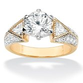 14k Gold Plated Round and Trilliant Cubic Zirconia Ring