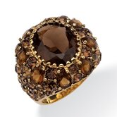 Gold Plated Smoky Quartz and Crystal Ring