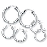 Sterling Silver Hoop Earrings Set of 3