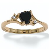 Gold Plated Onyx and Crystal Ring