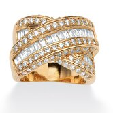 Gold Plated Multi-Row Cubic Zirconia Crossover Ring