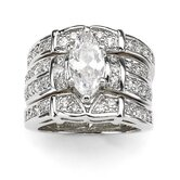 Silvertone Marquise and Round Cubic Zirconia Ring Set