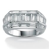 Men's Cubic Zirconia Platinum / Sterling Silver Ring