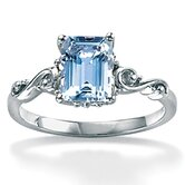 Octagon-Cut Aquamarine Ring