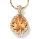 14k Yellow Gold Pear Cut Cubic Zirconia Pendant