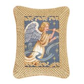 Angel with Harp Needlepoint Pillow