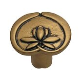 Bamboo Asian Lotus Flower Knob in Distressed Antique Gold