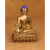 Buddha with Blue Head Carving Statue