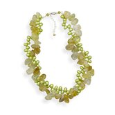 Sterling Silver 16 Inch+2 InchExtention Citrine and Green Cultured Freshwater Pearl Twist Necklace
