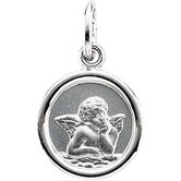 14k White Gold Round Angel Pendant Medal