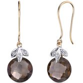 10 Karat Two Tone Gold 7.00 carat Checkerboard Cut Smoky Quartz Diamond Earrings  (0.03 carat Stone)
