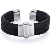 Mens Rivet accent Black Woven Leather Bracelet